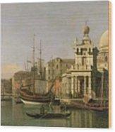 A View Of The Dogana And Santa Maria Della Salute Wood Print by Antonio Canaletto