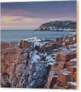 Acadian Cliffs Winter Sunrise 1 Wood Print by Susan Cole Kelly