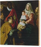 Adoration Of The Kings Wood Print by Diego rodriguez de silva y Velazquez
