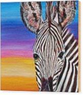 African Zebra Aura Wood Print by Donna Proctor