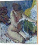 After The Bath Wood Print by Edgar Degas