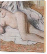 After The Bath Or Reclining Nude Wood Print by Edgar Degas