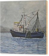Alaskan Fishing Wood Print by Reb Frost