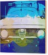 Alfa Romeo Watercolor Wood Print by Naxart Studio