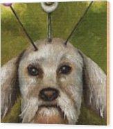 Alien Dog Wood Print by Leah Saulnier The Painting Maniac
