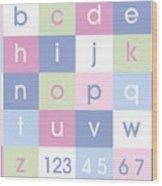 Alphabet Pastel Wood Print by Michael Tompsett