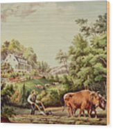 American Farm Scenes Wood Print by Currier and Ives