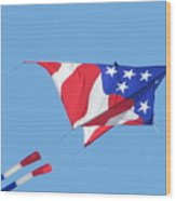 American Flag Kite Wood Print by Gregory Smith