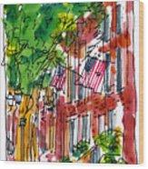 American Street Philadelphia Wood Print by Marilyn MacGregor