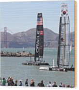 America's Cup Racing Sailboats In The San Francisco Bay - 5d18253 Wood Print by Wingsdomain Art and Photography