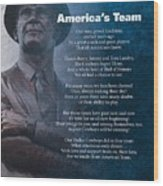 America's Team Poetry Art Wood Print by Stanley Mathis