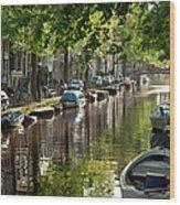 Amsterdam Canal Wood Print by Joan Carroll