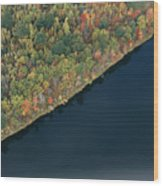 An Aerial View Of A Forest In Autumn Wood Print by Heather Perry