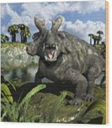 An Estemmenosuchus Mirabilis Stands Wood Print by Walter Myers