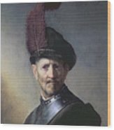 An Old Man In Military Costume Wood Print by Rembrandt