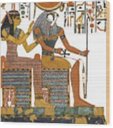 Ancient Egyptian Gods Hathor And Re Wood Print by Ben  Morales-Correa
