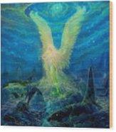Angel Tarot Card Mermaid Angel Wood Print by Steve Roberts