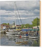 Annapolis Maryland City Dock Ego Alley Wood Print by Brendan Reals