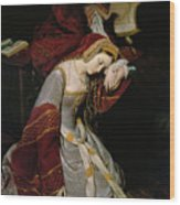 Anne Boleyn In The Tower Wood Print by Edouard Cibot