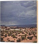 Arizona Rainy Desert Landscape Wood Print by Ryan Kelly