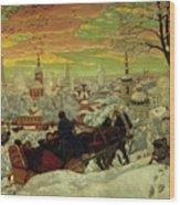 Arriving For The Holidays Wood Print by Boris Mihajlovic Kustodiev