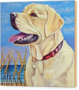 At The Beach - Labrador Retriever Wood Print by Lyn Cook