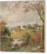 Autumn Landscape Wood Print by Jasper Francis Cropsey