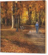 Autumn - People - A Walk In The Park Wood Print by Mike Savad
