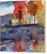 Autumn Walk Wood Print by Anne Duke