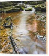 Autumnal Waterfall Wood Print by Meirion Matthias