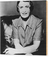 Ayn Rand, 1957 Author Of Atlas Shrugged Wood Print by Everett