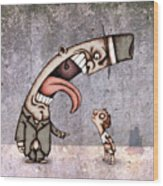 Bad Rich Man Wood Print by Autogiro Illustration