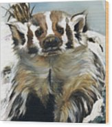 Badger - Guardian Of The South Wood Print by J W Baker