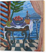 Balcony By The Mediterranean Sea Wood Print by Karon Melillo DeVega