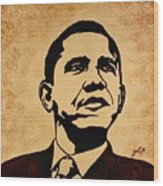 Barack Obama Original Coffee Painting Wood Print by Georgeta  Blanaru