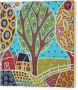 Barn Trees And Garden Wood Print by Karla Gerard
