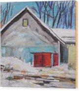 Barnyard In Winter Wood Print by John Williams