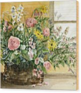 Basket Bouquet Wood Print by Arline Wagner