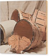 Baskets With Crock II Wood Print by Tom Mc Nemar