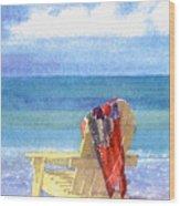 Beach Chair Wood Print by Shawn McLoughlin