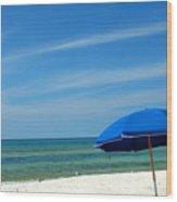 Beach Umbrella Wood Print by Susanne Van Hulst