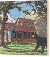 Bears At Barton Cabin Wood Print by Nadi Spencer