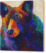 Beary Nice - Black Bear Wood Print by Marion Rose