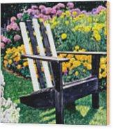 Big Old Chair Evening Light Wood Print by David Lloyd Glover