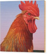 Big Red Rooster Wood Print by James W Johnson