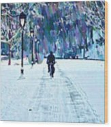 Bike Riding In The Snow Wood Print by Bill Cannon
