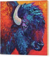 Bison Head Color Study II Wood Print by Marion Rose