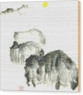 Bison In Snow II Wood Print by Mui-Joo Wee