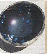 Black And Blue Bowl Wood Print by Leahblair Jackson