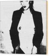 Black And White Subway Suited Siren Wood Print by Leonard Rosenfield